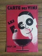 Carte Des Vins - Les éco - 1937-38 - Imprimerie Chassaing, Nevers (58, Nièvre) - Wine