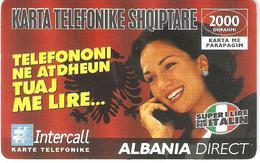 Albania-Albania Direct Prepaid Card 2000dhrahmi By Intercall,exp.date31/12/2002,sample - Albanie