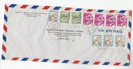 1966 Air Mail  JAPAN COVER Franked  10 X STAMPS  From  Imperial Chemical Industries Ltd To GB Bird Birds FLOWER FLOWERS - 1926-89 Emperor Hirohito (Showa Era)