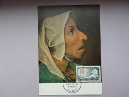 CARTE MAXIMUM CARD TETE DE VIEILLE PAYSANNE DE PEETER BRUEGHEL - 1960-69