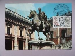 CARTE MAXIMUM CARD ROME CAPITOLE LA STATUE DE MARC AURELE AVEC OSI - Cartoline Maximum