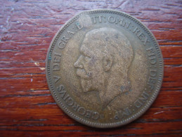 Great Britain 1928 GEORGE V  ONE PENNY  USED FAIR CONDITION.(HG36) - 1902-1971 : Post-Victorian Coins