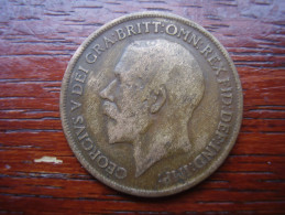 Great Britain 1916 GEORGE V  ONE PENNY  USED FAIR CONDITION.(HG42) - 1902-1971 : Post-Victorian Coins