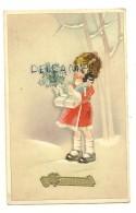 Bonne Année. Petite Fille Dans La Neige, Poupée, Houx, Cadeau. 1946. Coloprint Spécial 1635/1 - New Year
