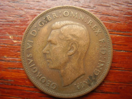 Great Britain 1937 GEORGE VI  ONE PENNY  USED FAIR CONDITION.(HG38) - 1902-1971 : Post-Victorian Coins