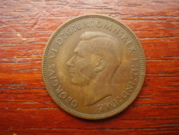 Great Britain 1938 GEORGE VI  ONE PENNY  USED FAIR CONDITION.(HG39) - 1902-1971 : Post-Victorian Coins