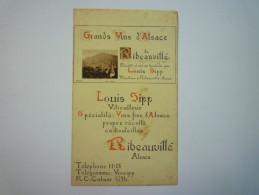 RIBEAUVILLE  (Alsace)  :  PUB  2  VOLETS Pour Les Grands Vins D'Alsace  (Louis  SIPP  Viticulteur)     1931 - Unclassified