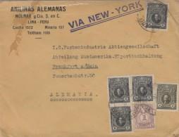 B)1924 PERU, ITURREGUI, RIVADENEYRA, PERUVIAN NATIONAL HERO,  MULTIPLE, SC 244 A83, ANILINAS ALEMANAS, CIRCULATED COVER - Peru