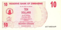 ZIMBABWE 10 DOLLARS 2006 P-39 UNC  [ZW130a] - Simbabwe
