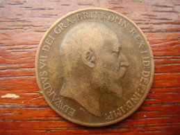 Great Britain 1909 EDWARD VII  ONE PENNY  USED POOR CONDITION.(HG30) - 1902-1971 : Post-Victorian Coins