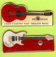 2 Pins Guitare Club Lions 1987 1988 - #752 - Musique