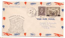 1933 Canada First Flight Cover Big River To Green Lake FFC Balloon Zeppelin Biplane Envelope - Primi Voli