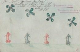 Belle CPA  Collage Montage De TIMBRES  Défilé De MARIANNE Et TREFLES 4 Feuilles PORTE BONHEUR Timbre 1910 - Timbres (représentations)