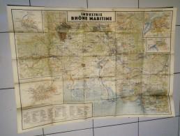 Carte Geogaraphique D'état Major De L'armée Allemande De L'industrie Rhone Maritime Guerre 39/45 - Geographical Maps