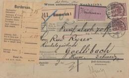 DR NN-Paketkarte Mef Minr. 2x 50 Emmerich 25.11.97 Gel. In Schweiz - Deutschland