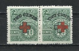 Liberia 1918 Sc B6 MNH Pair One Stamp Has Shifted Red Cross Variety - Liberia