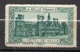 """Vignette PARIS-- Hôtel De Ville--Série """"La Belle France""""  Par Chocolat KWATTA - Commemorative Labels"""