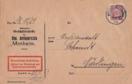 DR Zustellungsurkunde EF Minr.D112 Monheim 30.1.29 - Dienstpost