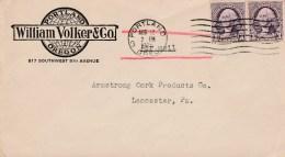 1935 Airmail Cover William Volker Portland To Pa 2x 3c Washington Portland M/c Cancel - Air Mail