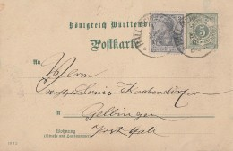 Würrtemberg Privat-GS Mit Zfr. DR Minr.68 Hall 1.4.02 - Wuerttemberg