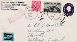 1955 Airmail Cover Missoula Montana To UK  10c Airmail + 2c Adams Stamps + 3c Impressed Missoula Duplex Cancel - Air Mail