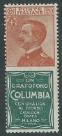 1924-25 REGNO PUBBLICITARI COLUMBIA 20 CENT MNH ** - Y129-6 - Publicidad