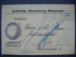Postkarte Städtische Verwaltung Dortmund 18.7.1922 - Briefe U. Dokumente