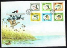 1988  Ducks    Complete Set On Single  Unaddressed  FDC - Zimbabwe (1980-...)