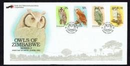 1993  Owls  -Complete Set On Single  Unaddressed  FDC - Zimbabwe (1980-...)
