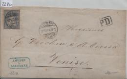 1873 Sitzende Helvetia/Helvétie Assise 41/33 - Stempel: Lausanne PD Pour Venezia 27.VI.73 - 1862-1881 Sitzende Helvetia (gezähnt)