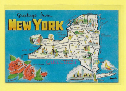 CPA Greetings From NEW YORK - Carte Géographique Rose Illustrateur J Conrad - Non Classés