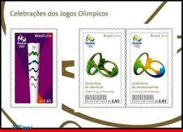 Ref. BR-V2016-14-1 BRAZIL 2016 - SPORTS, OLYMPIC GAMES, RIO 2016,, TORCH, CEREMONYS, S/S MNH,3V - Summer 2016: Rio De Janeiro