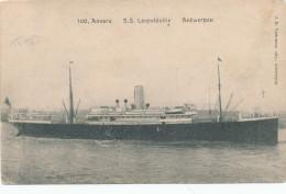 870/24 - CONGO BELGE Ligne Maritime Anvers/Congo - Carte-Vue SS Léopoldville En 1918