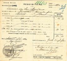 874/24 - CONGO BELGE - Document Réquisitoire De Ticket De Bateau 1932 - TB Cachet MATADI District Du Bas Congo - Congo Belge