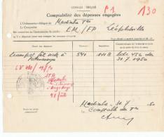 875/24 - CONGO BELGE - Document Comptable De MADIMBA 1950 - Cachet Territoire De L' INSIKI - Congo Belge