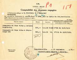 876/24 - CONGO BELGE - Document Comptable De COQUILHATVILLE 1950 - Cachet Province De L' EQUATEUR - Congo Belge