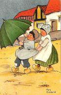 [DC3429] CPA - ILLUSTRATORE MAY GLADWIN - BAMBINI CON OMBRELLO - Viaggiata - Old Postcard - Disegni Infantili
