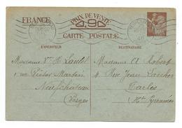 CARTE POSTALE.. CORRESPONDANCE 1940 ENTIER POSTAL Type IRIS Sans Valeur..NEUFCHATEAU/ TARBES - Colis Postaux