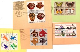 1977/78; Blocs Of 4 TP's Tenant Selon Scan, YT 1152-5, 1160-3, 1165-8, 1189-92 + 1195-8, Oblitéré 1er Jour, Lot 46550 - Used Stamps