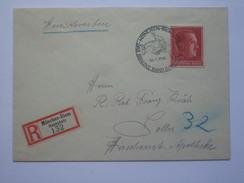 GERMANY 1938 COVER REGISTERED MUNCHEN-RIEM MIT MUNCHEN-RIEM DAS BRAUNE BAND SONDERSTEMPEL TIED WITH SG 652 - Lettres & Documents