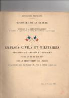Emplois Civils Et Militaires Réservés Aux Engagés De 1906, Ministère Guerre, Recrutement De L'armée - Cataloghi