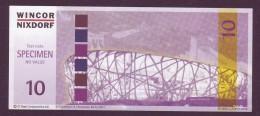 """Test Note  """" Wincor-Nixdorf""""-CI Tech  10  Euro,04.12.2004, W.serialno,  Both Sides UNC, Rare - EURO"""