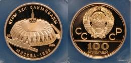 RUSIA (USSR) 1979 - 100 RUBLES OLYMPIC GOLD - DRUZHBA SPORTS HALL  Y # 174 ORIGINAL BOX - Rusia