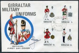 1975 Gibraltar Military Uniforms First Day Cover SIGNED - Gibraltar