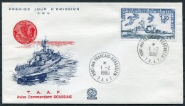 1980 T.A.A.F. TAAF Antarctic Aviso Commandant BOURDAIS Ship First Day Cover - FDC