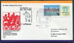 1978 Argentina Football World Cup, Germany Lufthansa Flight Cover, France 1 V Italy 2 - Argentine