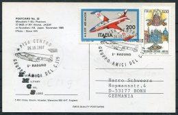 1997 Italy Japan Mitsubishi F - 4EJ Phantom JASDF Airforce Postcard, Pisa Centro Gruppo Amici Del C119 - 6. 1946-.. Repubblica