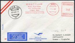 1962 Austria Wien Lufthansa Boeing First Flight Cover, Luftpost - Bremen - First Flight Covers
