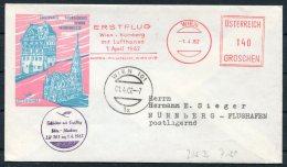 1962 Austria Wien Lufthansa Boeing First Flight Cover, Luftpost - Nurnberg - First Flight Covers