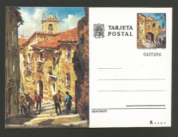 Espagne Entier Postal Caceres Vue Avec âne Spain Postal Stationery Caceres View With Donkey